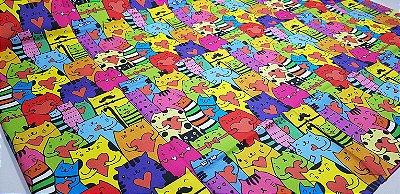 Gatinhos Coloridos.Tecido Digital. T030 - 50cm x 70cm