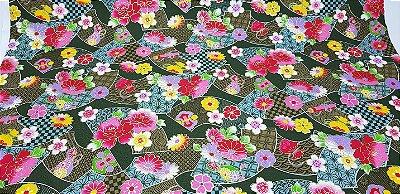 Fan Flowers. Tec.Douradinho Japonês. TI051  (49cm x 54cm)