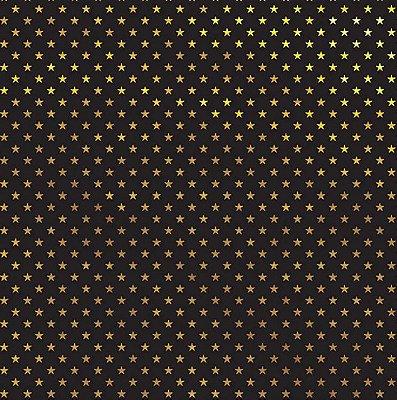 Folha de Scrapbook Preta Estrelas Dourada