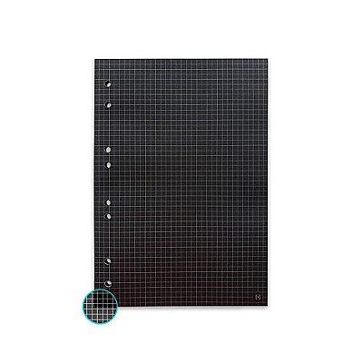 Refil Fichário Colegial 160x240 Quadriculado Preto