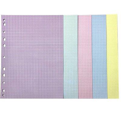 Refil Fichário Colegial 160x240 Quadriculado Colorido