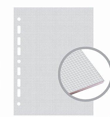 Refil Fichário Colegial 160x240 Quadriculada Cinza