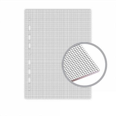 Refil Fichário Universal 20x27,5 Quadriculado Cinza