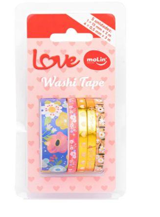 Conjunto Washi Tape Slim 5 Unid Floral Azul