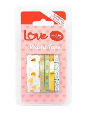 Conjunto Washi Tape Slim 5 Unid Love Verde