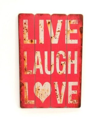 Placa Decorativa de Madeira - Live Laugh Love