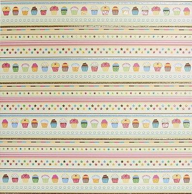 Folha de Scrapbook - Estrelas e Cupcakes