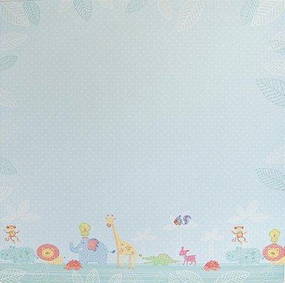 Folha de Scrapbook  Tema Bebês - Azul e Animais