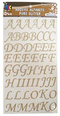 Adesivo Alfabeto Maiusculo Puro Glitter - Dourado