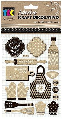 Adesivo Kraft Decorativo - Comida