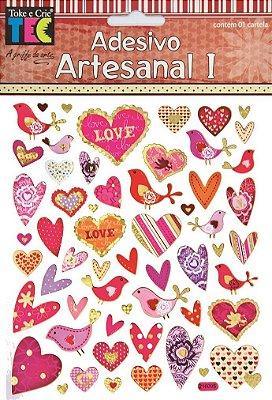 Adesivo Artesanal - Corações Apaixonados