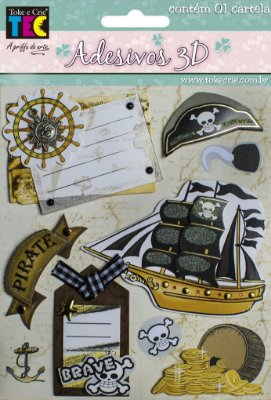 Adesivo 13 x 14 cm 3D - Piratas