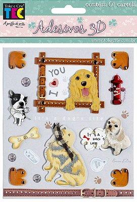 Adesivo 13 x 14 cm 3D - Cachorros