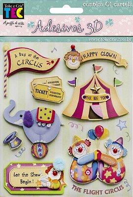 Adesivo 13 x 14 cm 3D - Circo