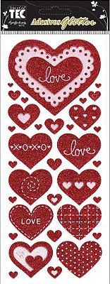 Adesivo Glitter - Corações