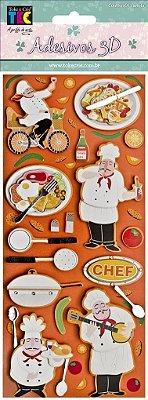 Adesivo 24 x 11 cm 3D - Cozinheiro
