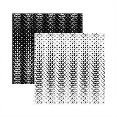 Folha de Scrapbook Estrelas Branca e preta