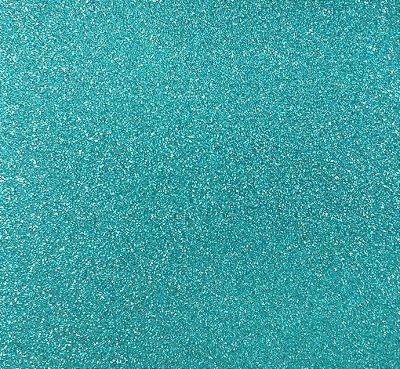 Folha de Scrapbook Puro Glitter Azul Turquesa