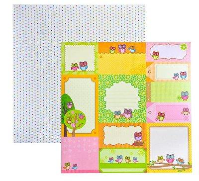 Folha de Scrapbook Corujas Coloridas Tags