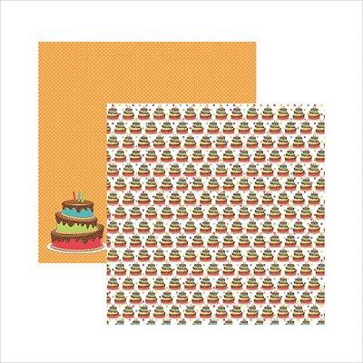 Folha de Scrapbook Aniversário Bolinhos