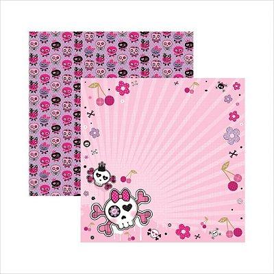 Folha de Scrapbook Caveiras Pink Floral