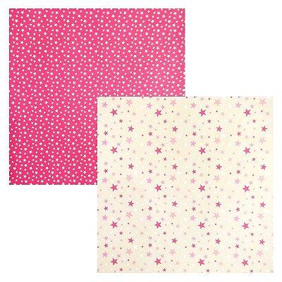Folha de Scrapbook Estrelas Tons de Rosa