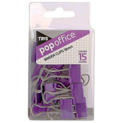Pop Office Binder Clips 15 Unidades Roxo