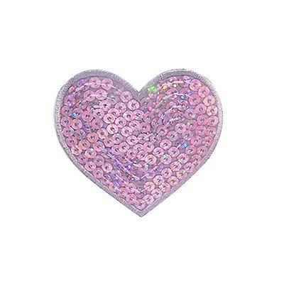 Patch Coração Lilas com Paetê