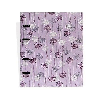 Caderno Argolado Flores Roxo Claro
