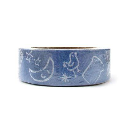 Fita Adesiva Washi Tape Objetos Azul