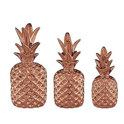Conjunto 3 Peças Abacaxi Cobre