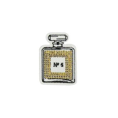 Patch Perfume com Paetê Dourado Branco
