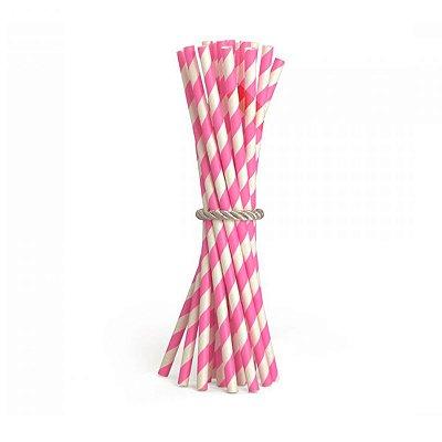 Canudo de Papel Listras Pink 20 Unidades