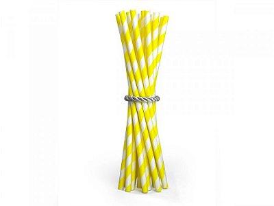 Canudo de Papel Listras Amarelo 20 Unidades