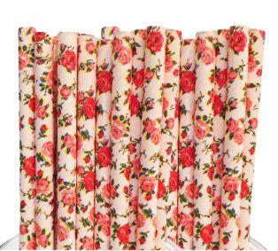 Canudo de Papel Floral Rosa 20 Unidades