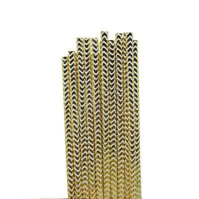 Canudo de Papel Chevron Dourado 20 Unidades