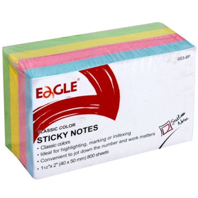 Bloco Post-It 8 Unidades 50x50mm 4 Cores Pastel