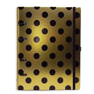 Planner Organizador - Dourado com Bolinhas Pretas