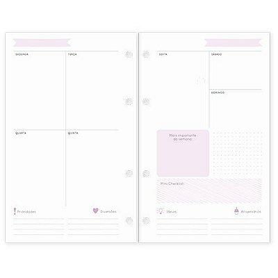 Refil Planner Organizador 125x200mm Agenda Sem Data Rosa