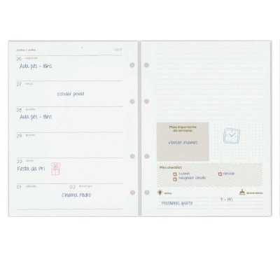 Refil Planner Organizador 167x240mm Agenda Com Data Gold