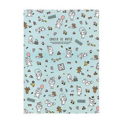 Caderno Brochura com Pauta Azul Bichinhos