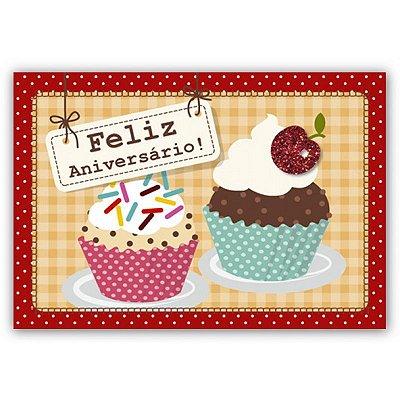 Cartão Aniversário Cupcake Pequeno