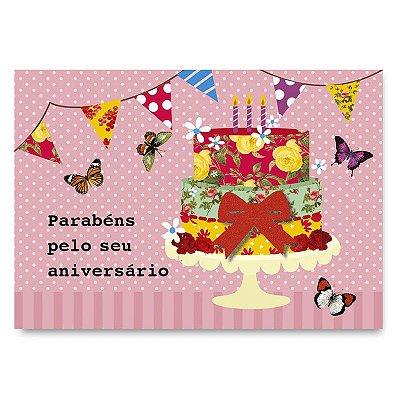 Cartão Aniversário Bolo Estampado Pequeno