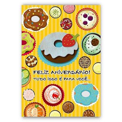 Cartão Aniversário Doces Pequeno