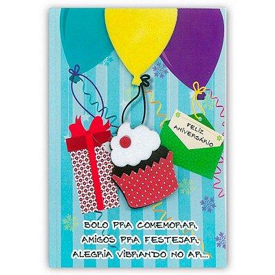 Cartão Aniversário Cupcake com Balões Pequeno
