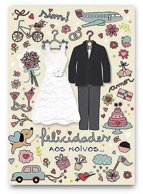 Cartão Casamento Roupas Pequeno