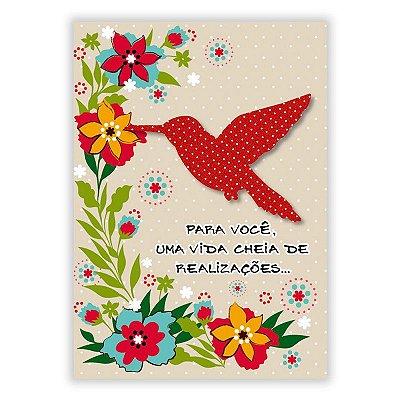 Cartão Felicitações Beija-Flor Pequeno
