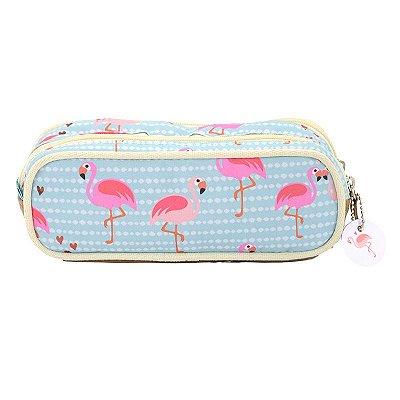 Estojo Flamingos Duplo
