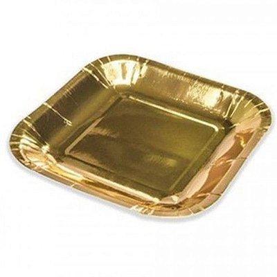 Prato de Papel Dourado 10 Unidades