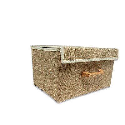 Caixa Organizadora Desmontável de Linho Bege Pequena
